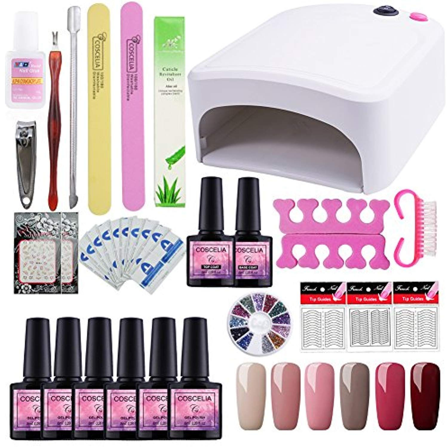Saint Acior 6 Pcs Nail Polish Set With 36w Uv Nail Dryer Lamp Nail Starter Kit Soak Off Color Gel Polish Design B Gel Nail Set Gel Nail Kit Gel Polish Manicure
