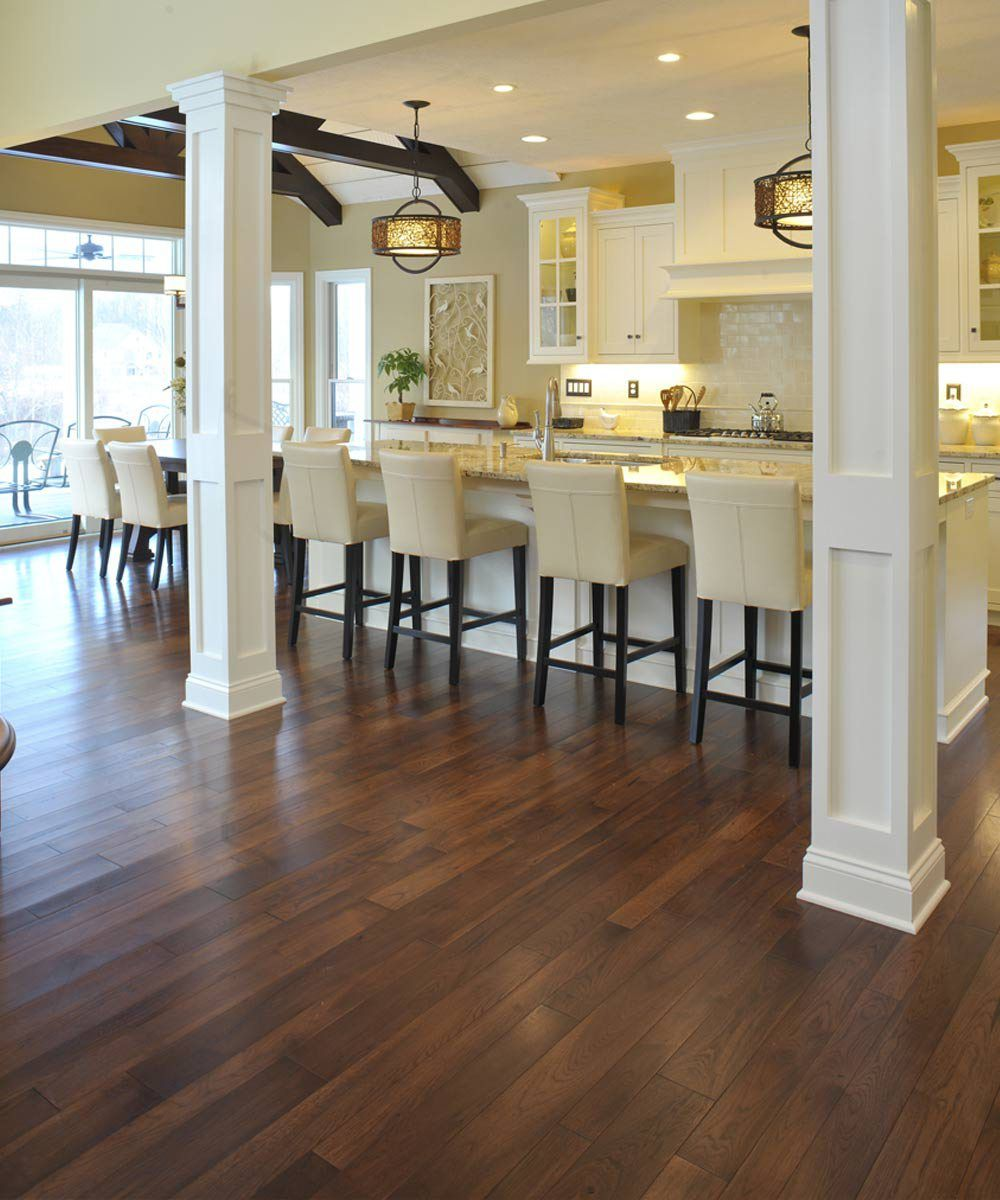 Distressed hickory hardwood flooring like this floor for Laminate floor coverings for kitchens