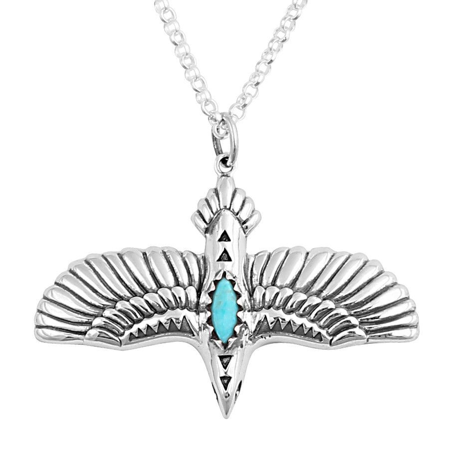 Turquoise Flying Eagle Necklace Rose Garden Waterfall