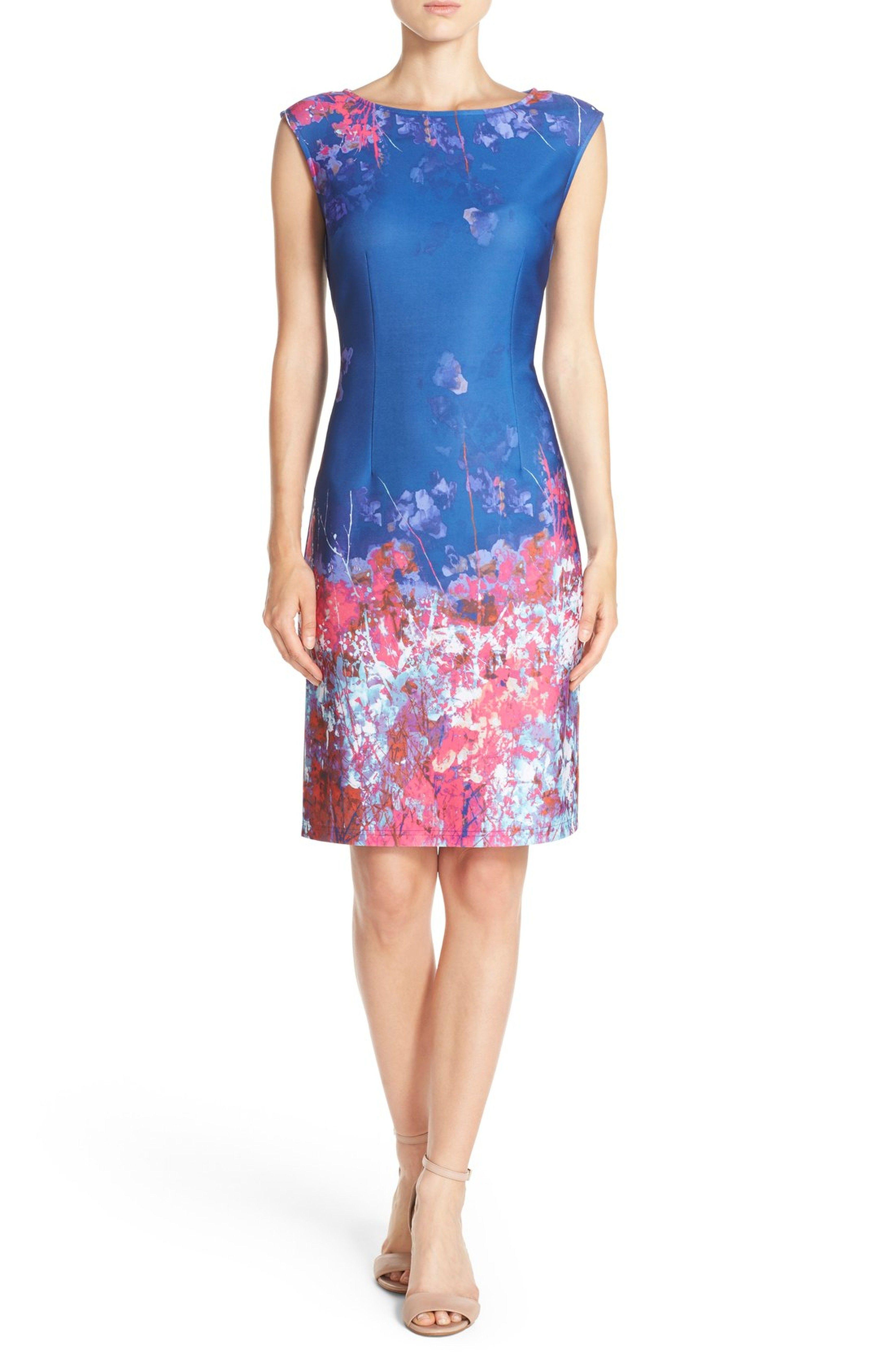 7f1a773729e Main Image - Adrianna Papell Floral Border Print Scuba Sheath Dress ...