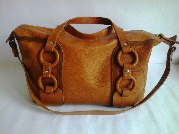 Leather bag shoulder bag hand bag genuine by HarmonyCreationGifts