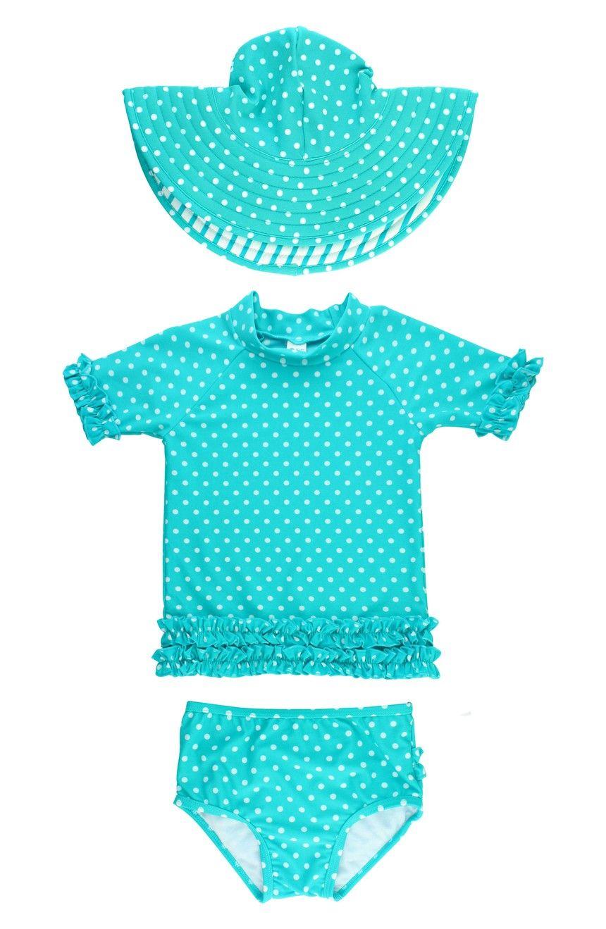 b5f63113ab RuffleButts One-Piece Rashguard Swimsuit & Hat Set (Baby Girls) | Nordstrom