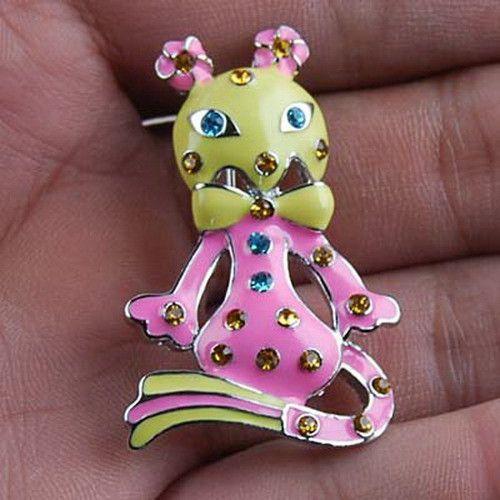 Vintage Stunning Cute Cat Brooch Pin Swarovski Crystals 157 | eBay