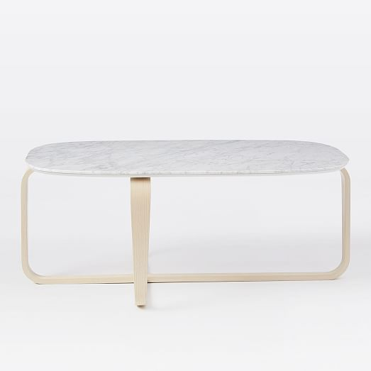 Leigh Coffee Table, Marble / Walnut At West Elm