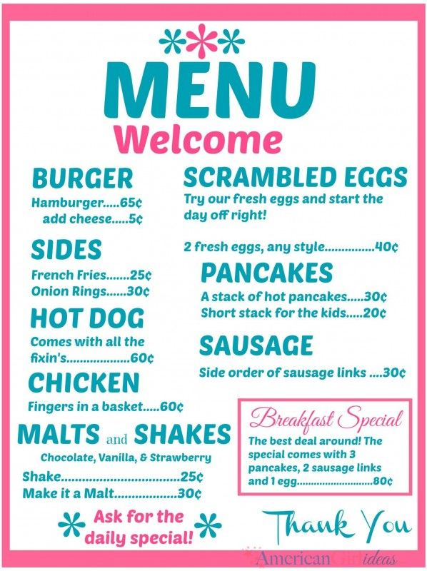 make your own american girl diner menus click here for the free