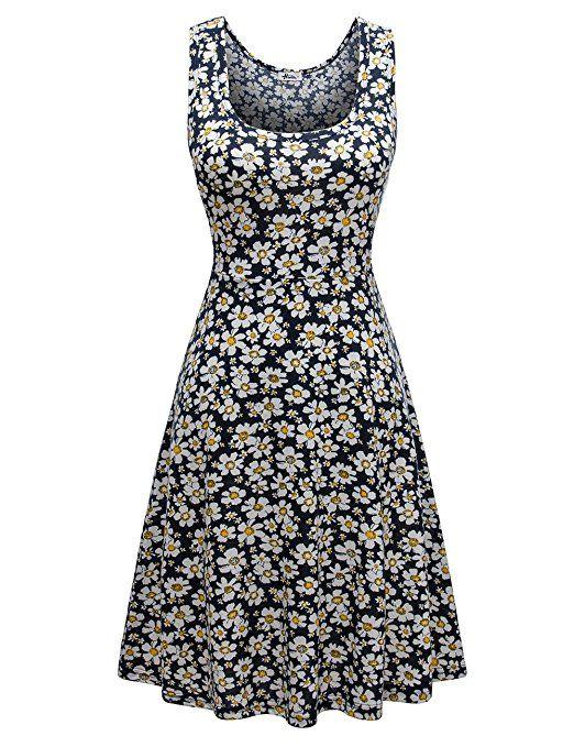 3bbefe6307b2 Herou Women Summer Beach Casual Flared Floral Tank Dress (X-Small,  Flower-10)