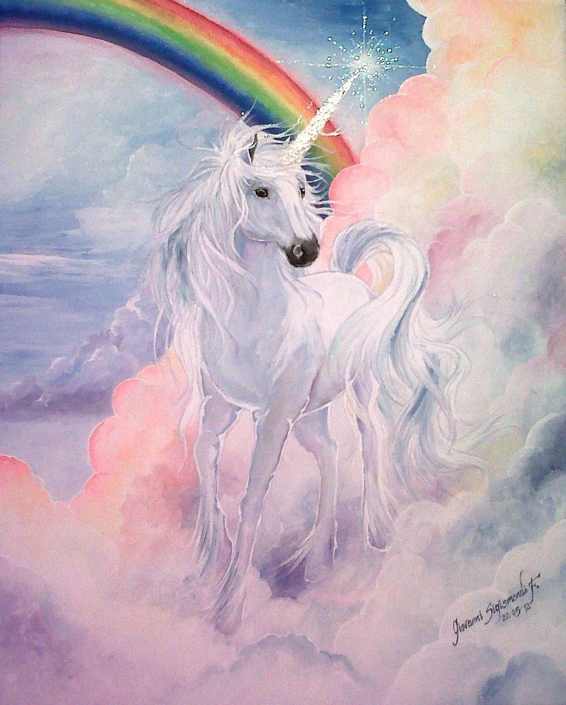 Lienzo Al Acrilico 60x50 Cm Unicorn Painting Unicorn And