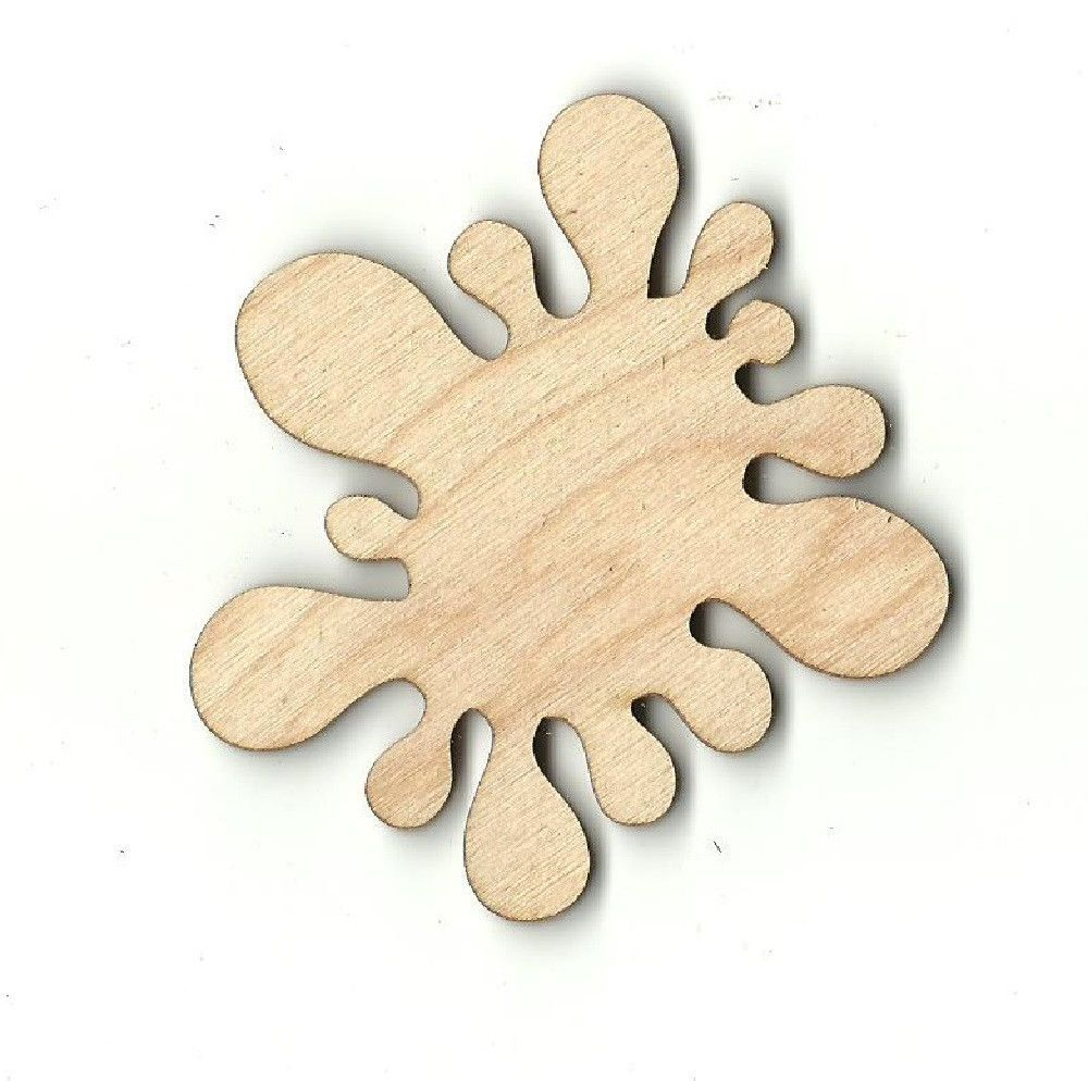 Painted wooden shapes for crafts - Word Bubble Paint Splat Unfinished Laser Cut Wood Shape Wrd70