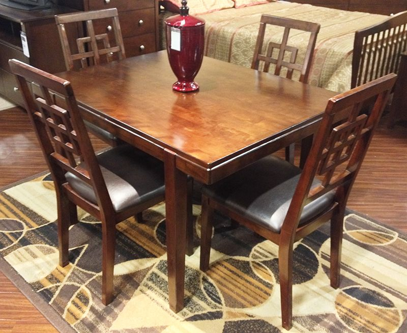 Cimeran Dining Table 4 Side Chairs With A Straight Line Contemporary Design Bathed In