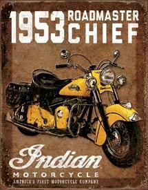 Tin Sign 1953 Indian Roadmaster Indian Motorcycle Vintage Motorcycles Motorcycle