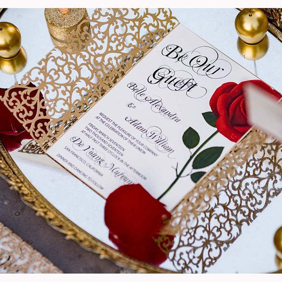 Beauty and the Beast invitation/Red rose invitation | Etsy