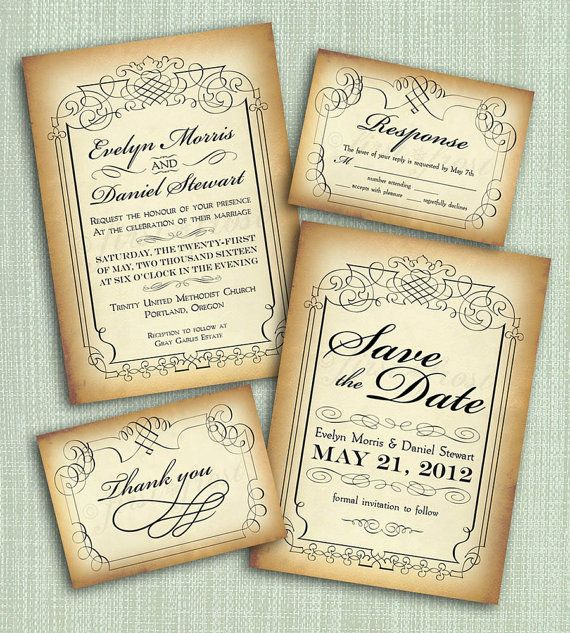 Printable Vintage Style Wedding Invitation By Firstfrostdesigns 3500
