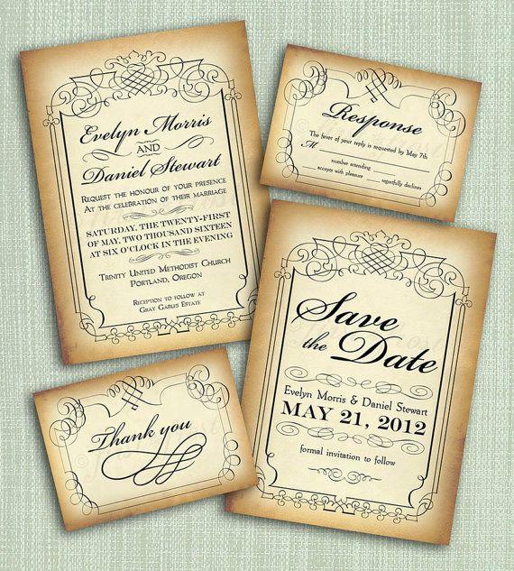 Printable Vintage Style Wedding Invitation Suite - DIY 4 Pieces - formal invitation style