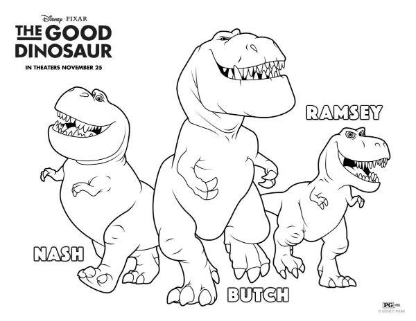 the good dinosaur nash, butch & ramsey coloring page | printable ... - Coloring Pages Dinosaurs Printable