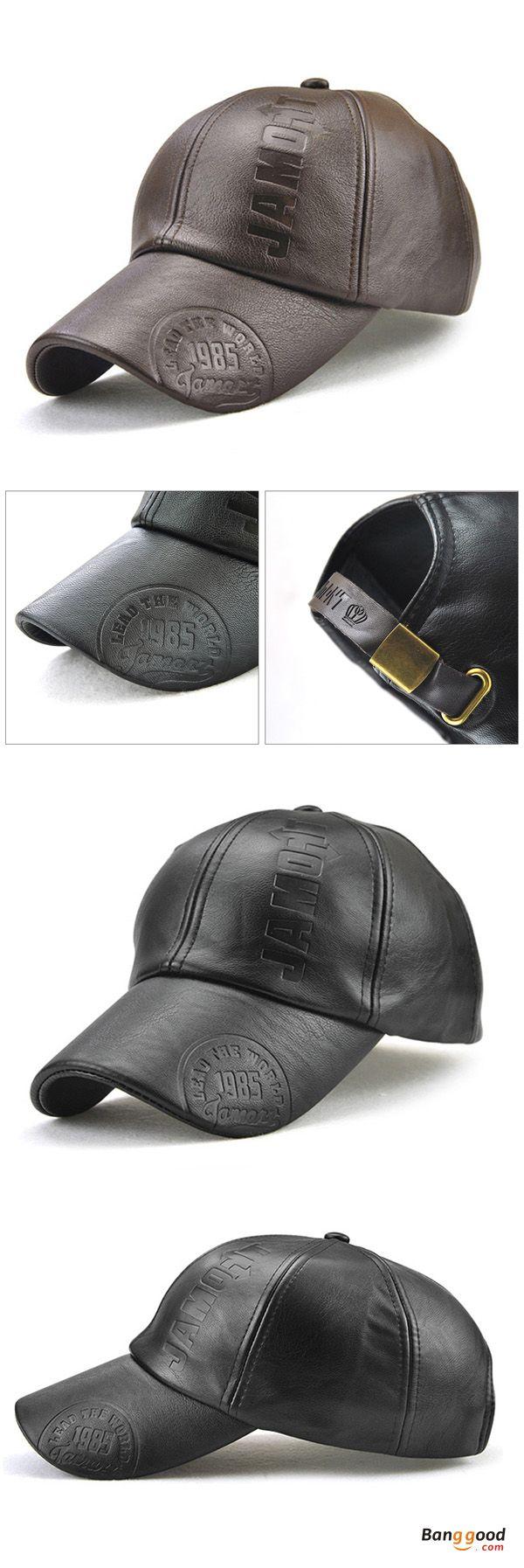 d012c4d547b Mens Letter Man-made Leather Warm Baseball Cap Adjustable Outdoor ...