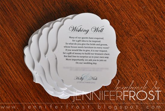 Wedding Invitation Wishing Well Wording: Wishing Well Poem Insert ~ By Jennifer Frost