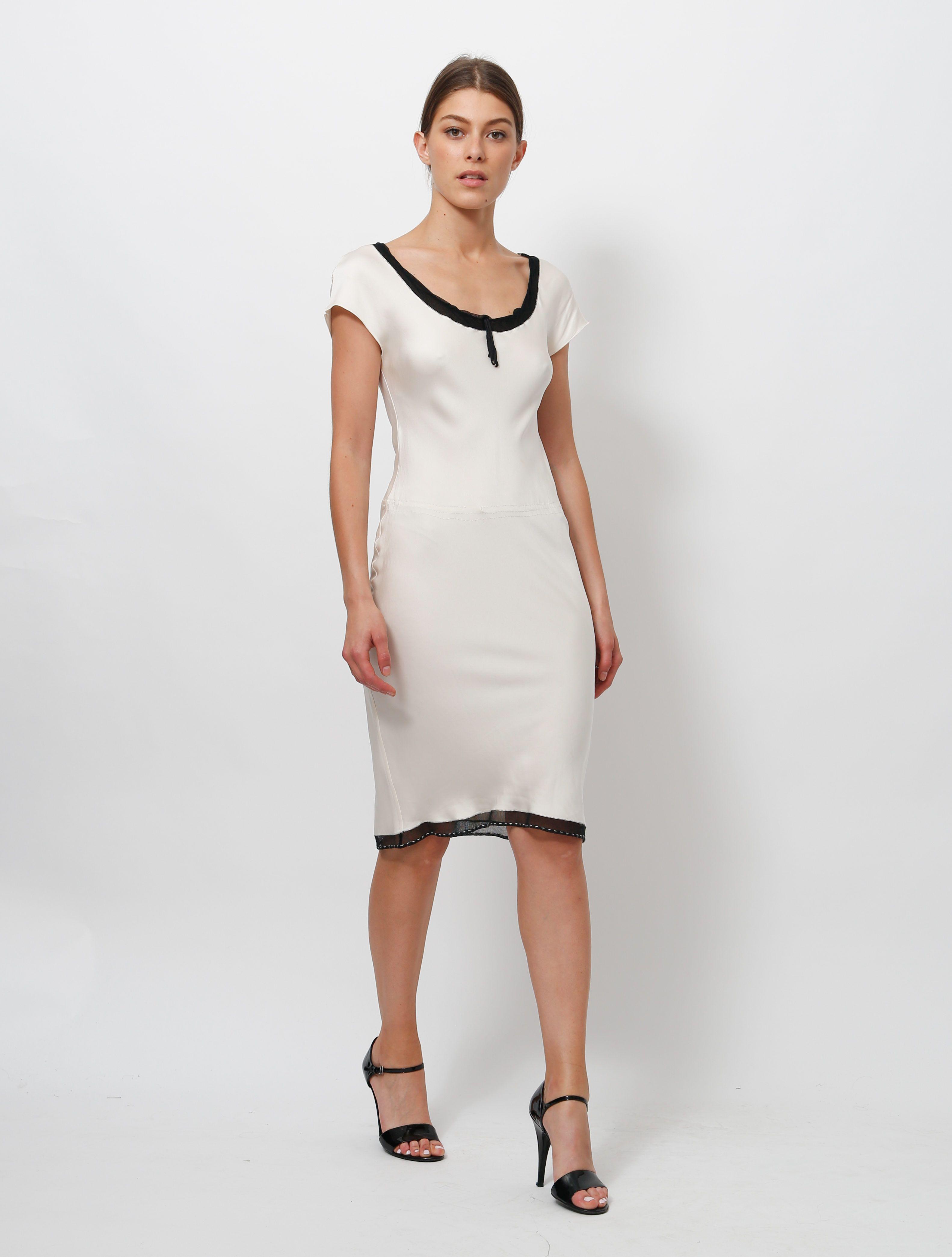 Prada Silk Slip Dress Silk Slip Dress Lace Dress Black White Slip Dress [ 4178 x 3165 Pixel ]