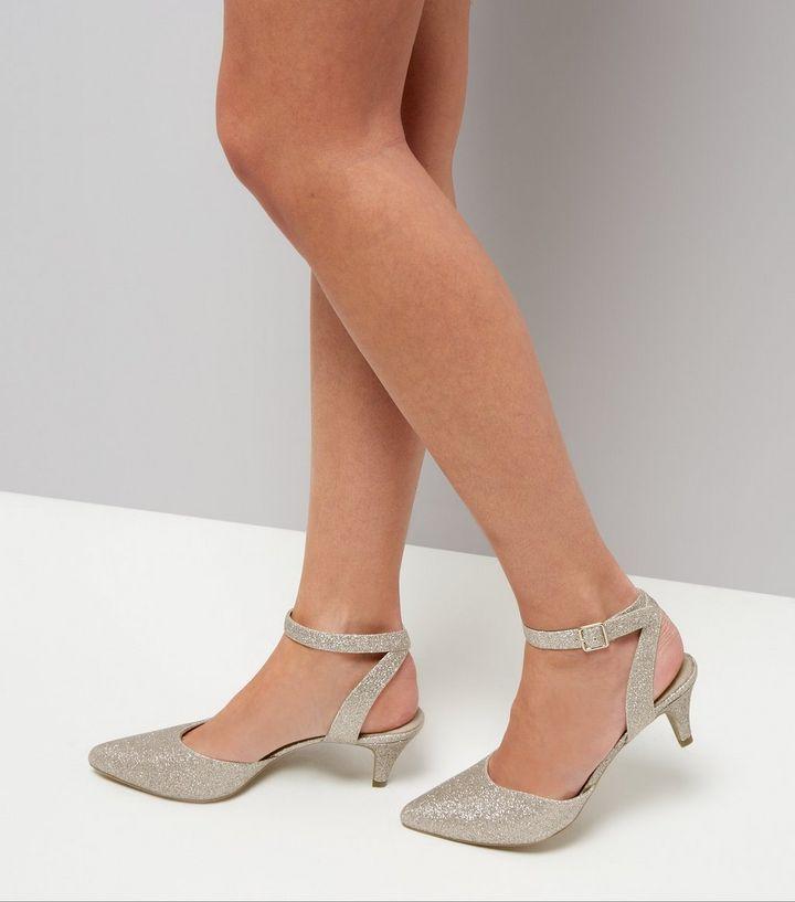 Wide Fit Gold Comfort Glitter Kitten Heels | New Look | bridesmaid ...