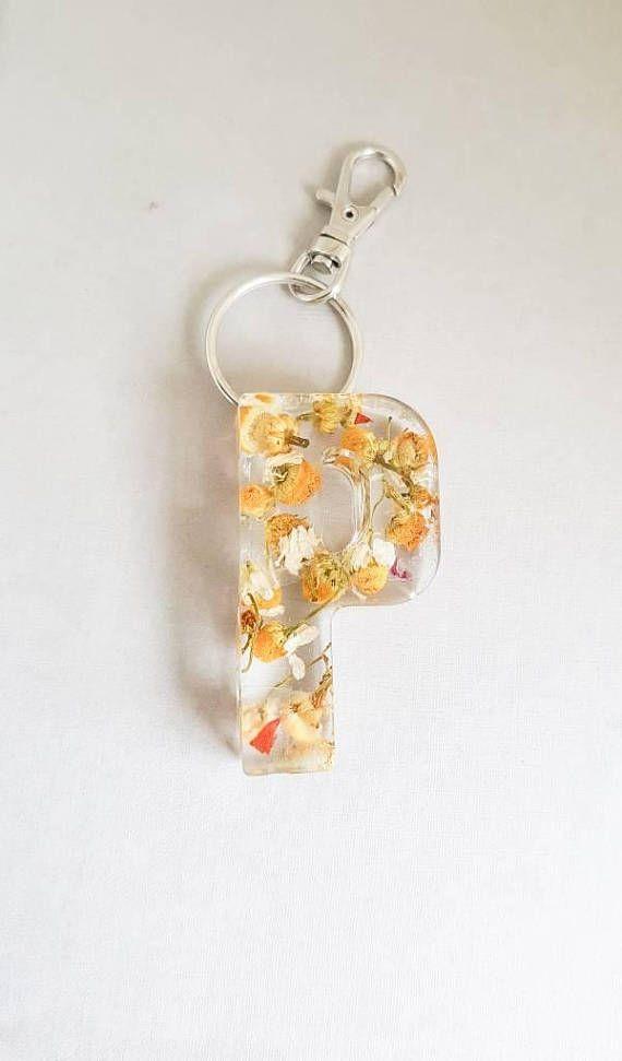Initial Keyring Chamomile Flowers Initial Keychains Letter Keyring Yellow Keyring Alphabet