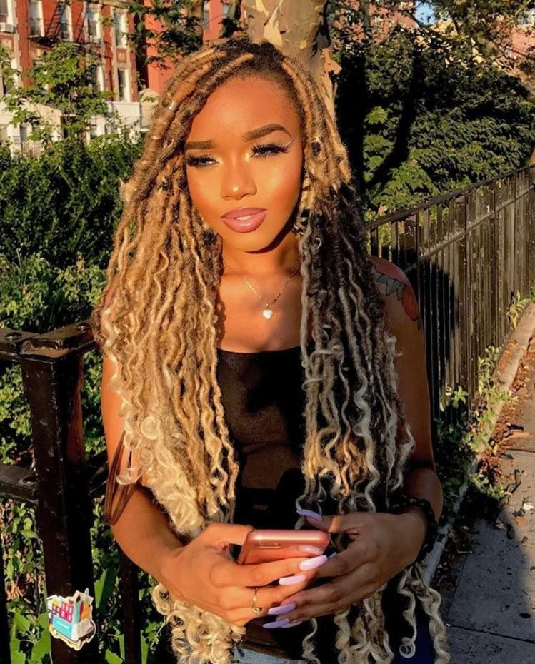 B A R B I E Doll Gang Hoe Pinterest Jussthatbitxh Download The App Mercari Use My Code Uznpku To Faux Locs Blonde Blond Faux Locs Faux Locs Hairstyles