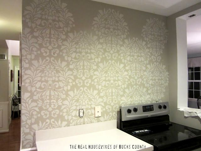 DIY wall stencil. This is EXACTLY what I'm planning to do with my awkward TV wall!!!