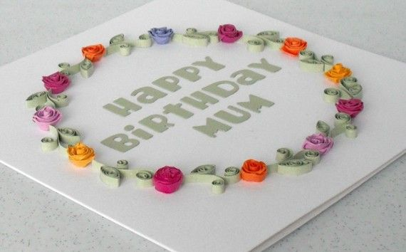Birthday Card For Mum Mom With Paper Quilling Flowers