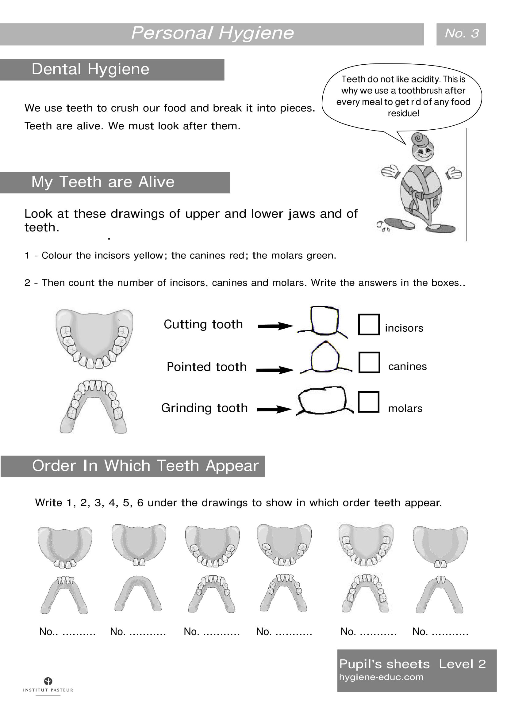 Personal Hygiene Worksheets Level 2 Dental Hygiene My