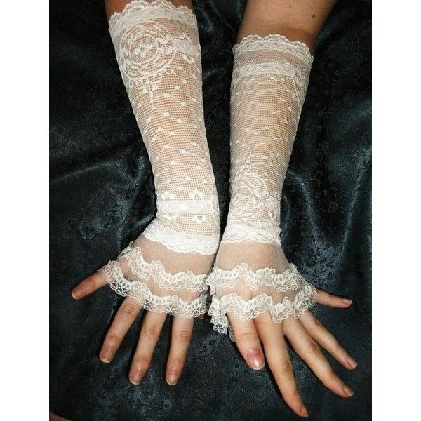 Items similar to Bachelorette ivory lace cuffs ivory lace gloves... ❤ liked on Polyvore featuring accessories, gloves, ivory gloves, victorian gloves, bridal gloves, lace gloves and bride gloves