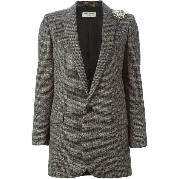 Saint Laurent tweed blazer ($4,325) ❤ liked on Polyvore featuring outerwear, jackets, blazers, grey, grey jacket, yves saint laurent, grey tweed blazer, gray tweed blazer and grey tweed jacket