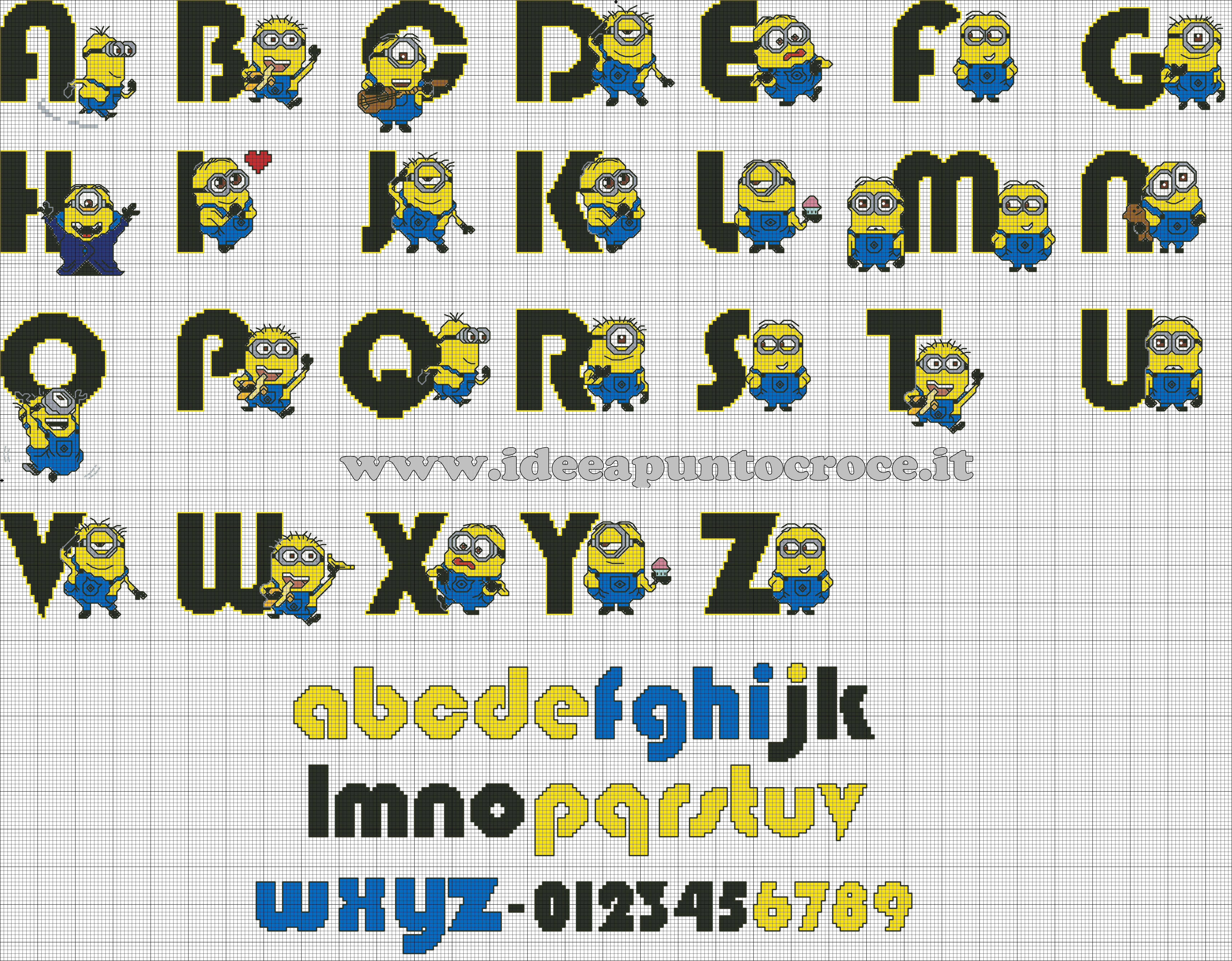 Schema punto croce alfabeto minions minion for Ricamo punto croce alfabeto
