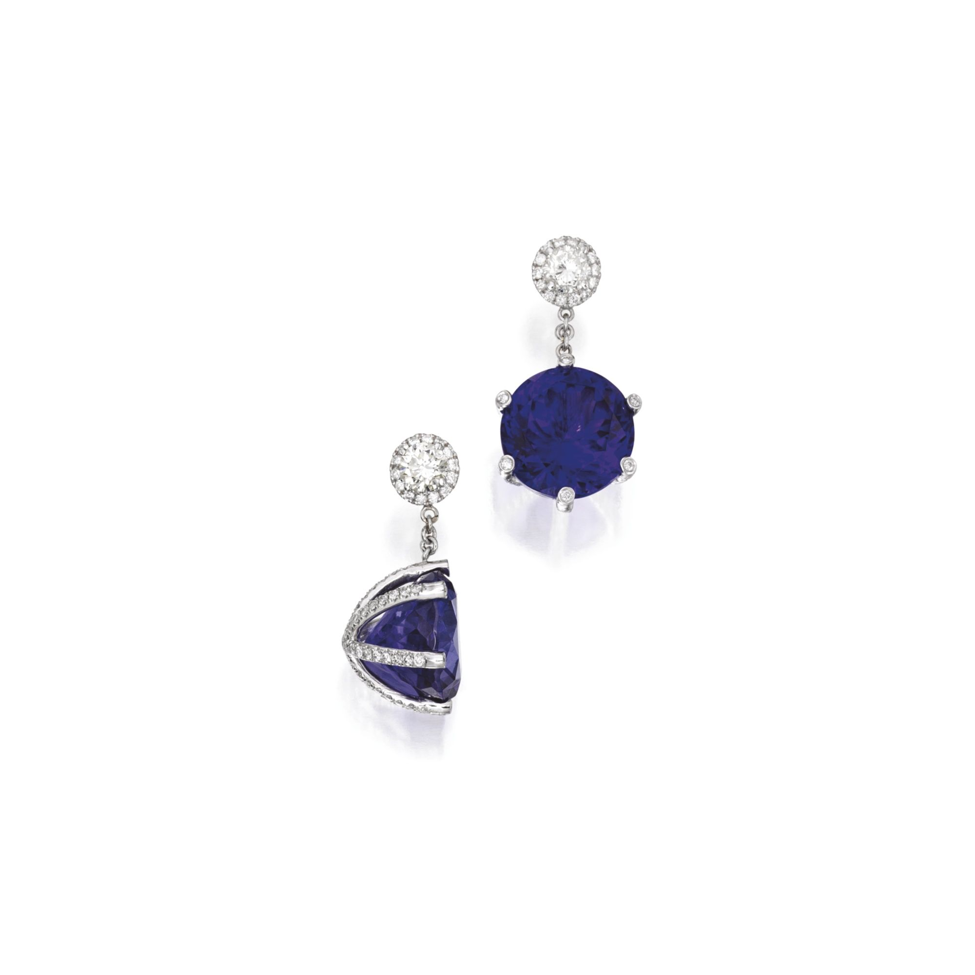 earrings product halo diamond richland stud tanzanite gemstones oval ct