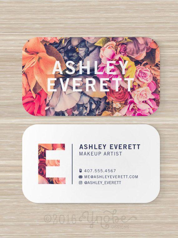 Floral Business Card Flowers Makeup Artist Vistaprint 3 5 Etsy Floral Business Cards Artist Business Cards Vistaprint Business Cards