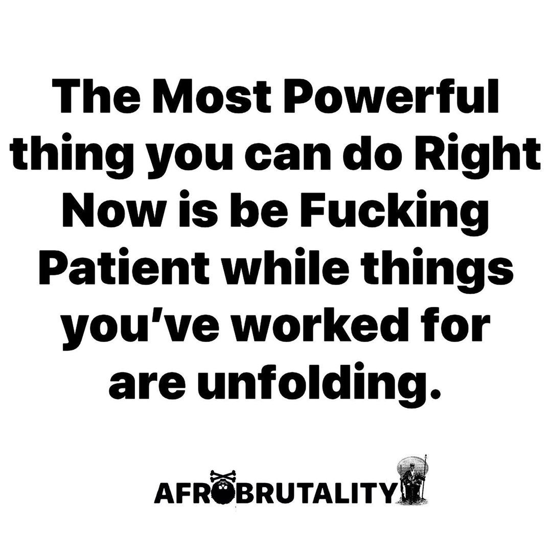 """AFROBRUTALITY™ on Instagram: """"🔥🙏🏽PATIENCE🙏🏽🔥 ▬▬▬▬▬▬▬▬▬▬▬▬▬▬▬▬▬▬▬▬▬▬▬▬▬▬▬▬ #thoughtoftheday #bestoftheday #motivation #inspiration #crossfit #blackbusiness #blackowned…"""""""