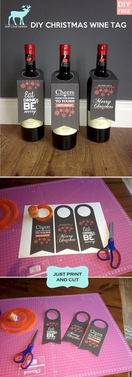 FREE DIY XMAS WINE BOTTLE TAGS Esp useful if you dont have a gift - free wine label design
