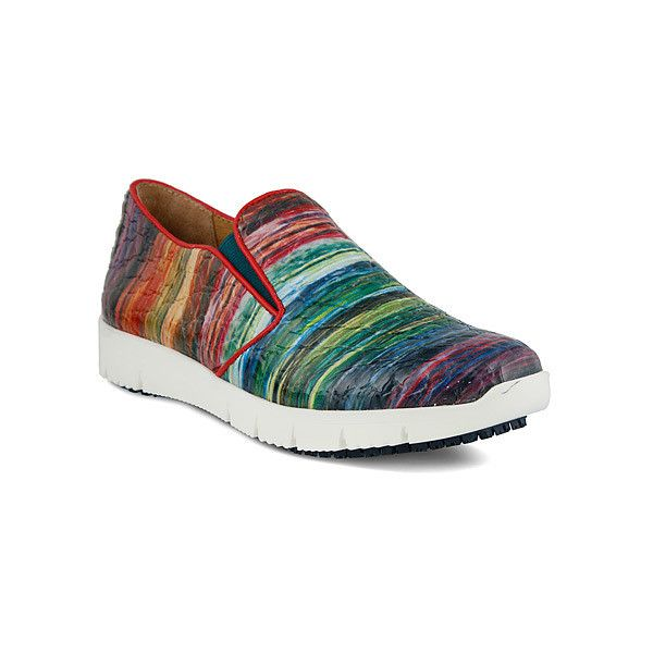 Spring Step Skitelz  Slip-Ons (5.485 RUB) ❤ liked on Polyvore featuring shoes, casual shoes, rainbow red multi, women, pull on shoes, slip-on shoes, rainbow shoes, spring step and leather upper shoes