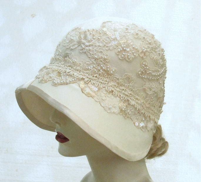 Womens Hat 1920\'s Edwardian Wedding Hat Vintage Style Cloche Bridal ...