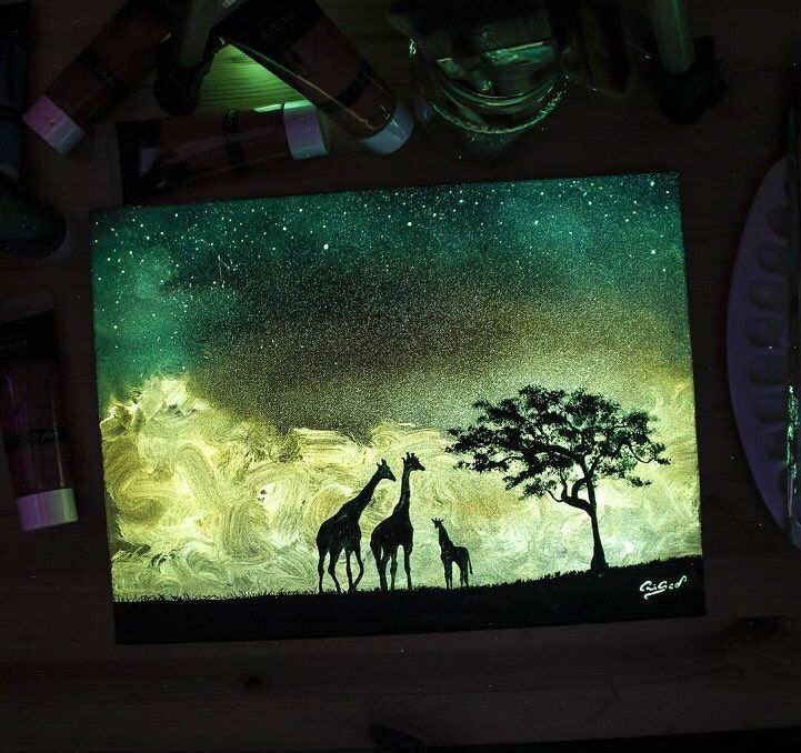 "art on Twitter: ""Landscape illustrations are composed with glow-in-the-dark-paint by Cristoforo Scorpiniti. https://t.co/DQhn8E7CwP"""