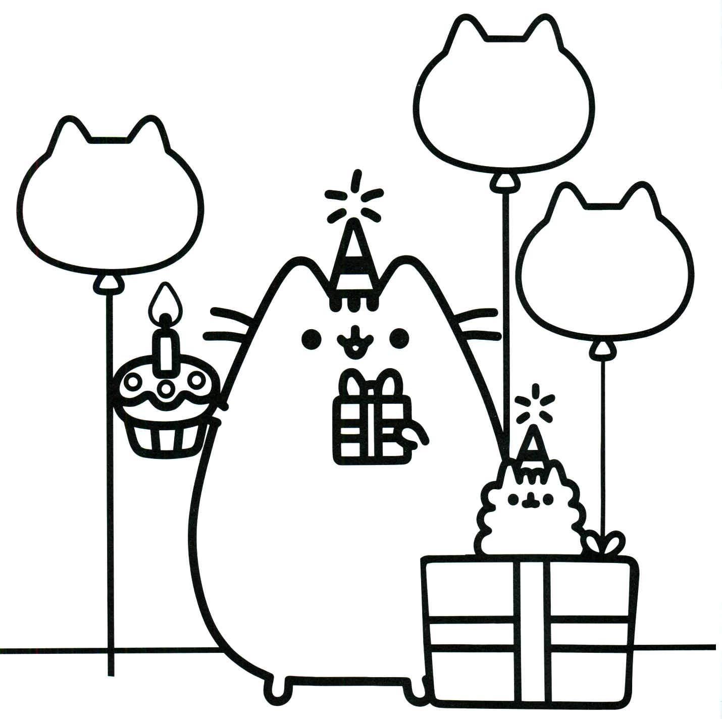 birthday cat coloring pages - photo#18