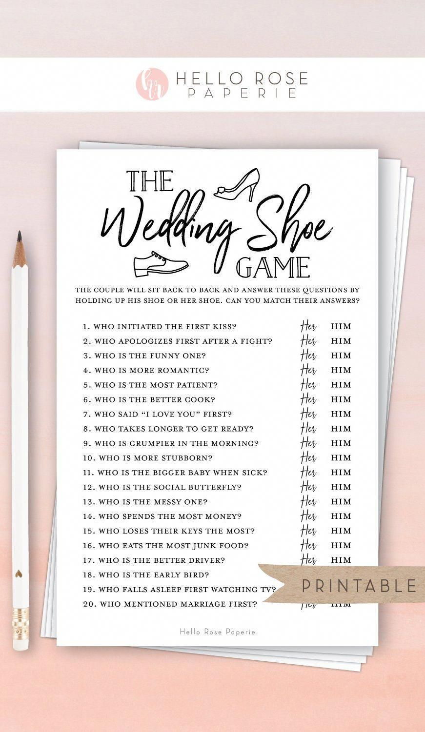 The Wedding Shoe Game . Virtual + Printable Bridal Wedding Couples Shower . Engagement Party . Printable Instant Download . Kraft + White -   19 ressional wedding Songs ideas