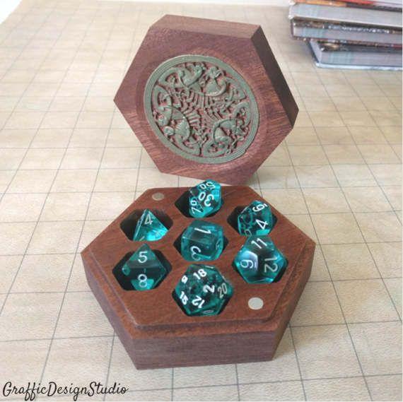 Wooden Dice Box Hexagon Dice Vault Dice By Grafficdesignstudio