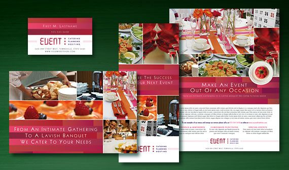 Corporate Event Planner \ Caterer Brochure, Postcard, Stationery - advertisement brochure