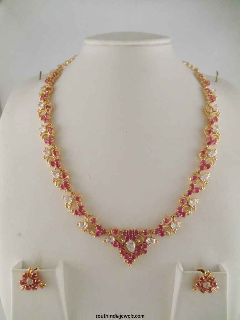 1 Gram gold ruby white shone necklace | Necklace Collections ...