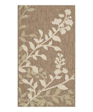 Another great find on #zulily! Brown & Beige Flora Indoor/Outdoor Rug #zulilyfinds