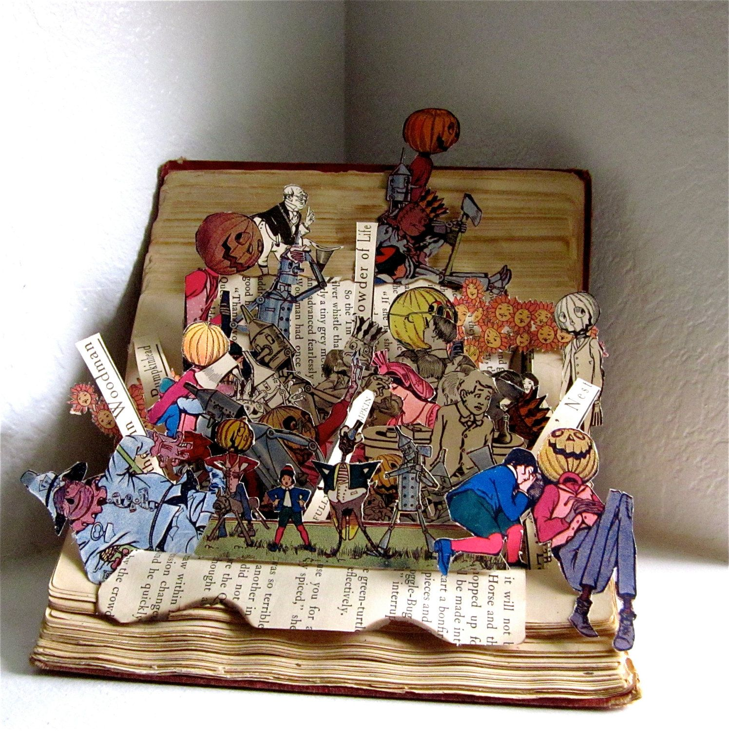 Altered Book pop up style  Land of OZ 1904 Recycled antique Book by Raidersofthelostart on Etsy