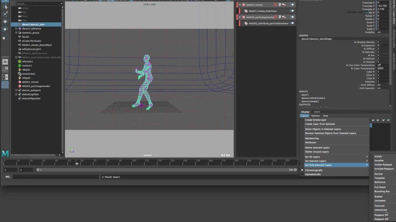 Cinema 4D to Maya 2017: MASH with nParticles and Arnold