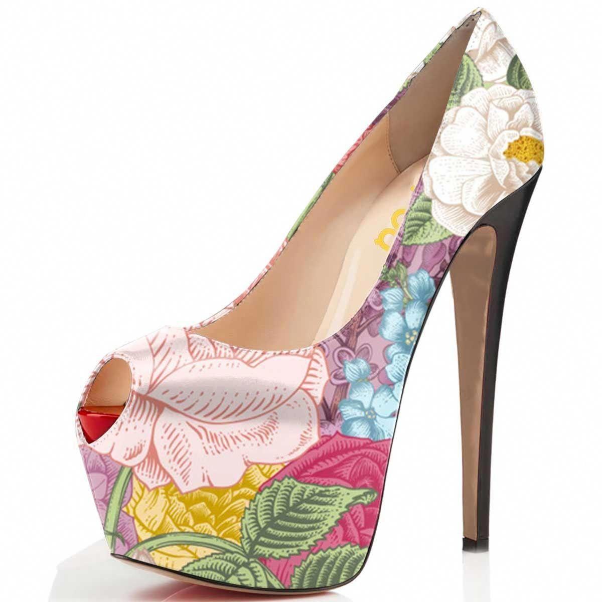df41da2407e Floral peep toe pump heels platform pump stiletto heels fall outfits   Platformpumps