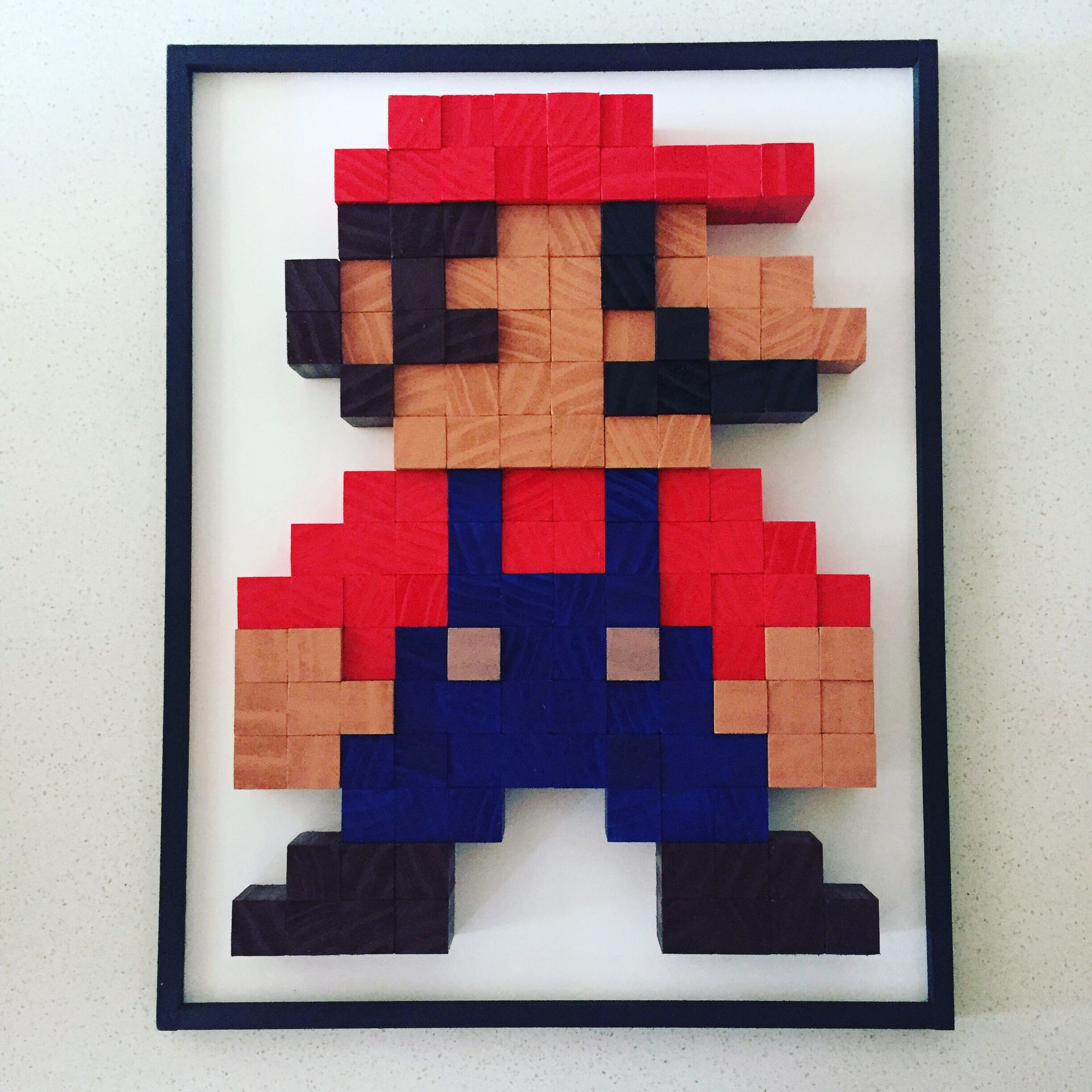 Awesome Pixel Art 8bit Super Mario Made Of Wood Blocks