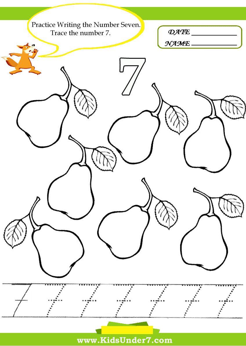 Kids Under 7 Number Tracing 110 Worksheet Part 2 – Number 7 Worksheet
