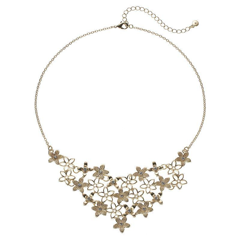 LC Lauren Conrad Openwork Flower Statement Necklace, Gold