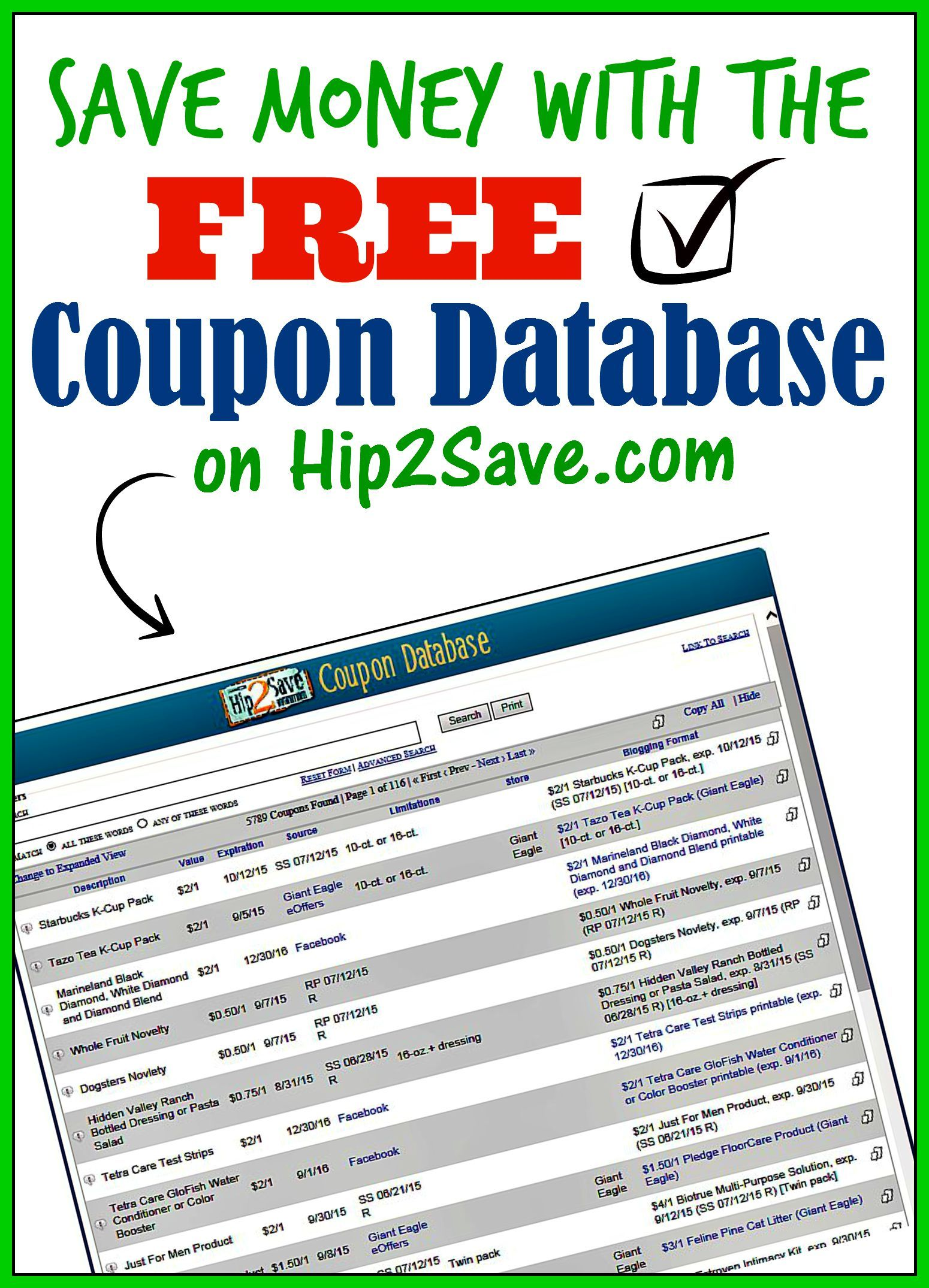 An Extensive Coupon Database From Hip2save Com Discover Great Deals And Coupons With This Wonderful An Money Lessons Couponing For Beginners Extreme Couponing